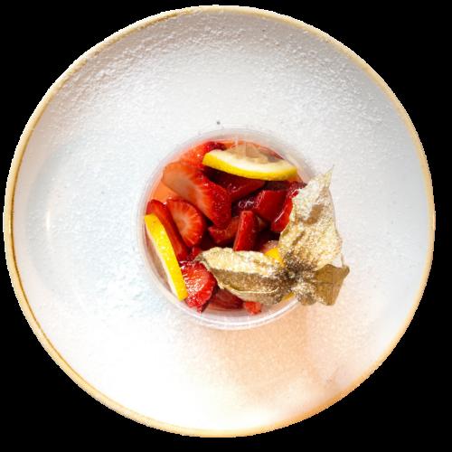 Panna cotta alle fragole del ristorante Campanarò di Asti